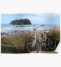 Bikes and summer days at Maunganui beach Poster