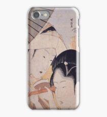 Katsushika Hokusai - Two Ladies with a Telescope. Japanese Fashion Woman Portrait iPhone Case/Skin