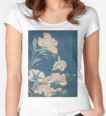 Katsushika Hokusai - Peonies and Canary Shakuyaku. Japanese Still Life . Flowers Women's Fitted Scoop T-Shirt