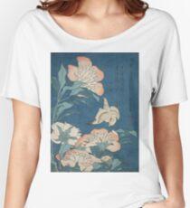 Katsushika Hokusai - Peonies and Canary Shakuyaku. Japanese Still Life . Flowers Women's Relaxed Fit T-Shirt