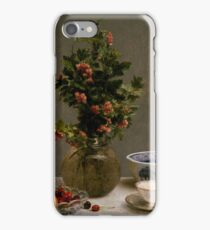 Henri Fantin-Latour - Still Life with Vase of Hawthorn, Bowl of Cherries, Japanese Bowl, and Cup and Saucer 1872 iPhone Case/Skin