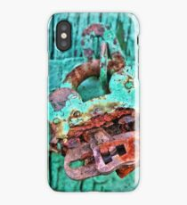 Old Lock on wooden gate iPhone Case