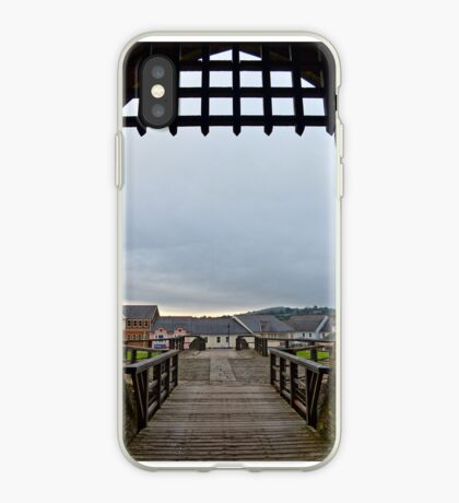 Welch Caerphilly Castle in Wales - Gate Bridge in the morning view to Caerphilly iPhone Case