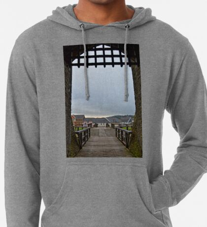 Welch Caerphilly Castle in Wales - Gate Bridge in the morning view to Caerphilly Lightweight Hoodie