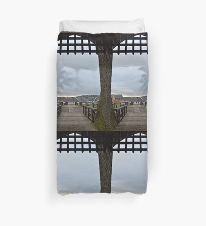 Welch Caerphilly Castle in Wales - Gate Bridge in the morning view to Caerphilly Duvet Cover