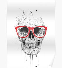 Skull with red glasses Poster