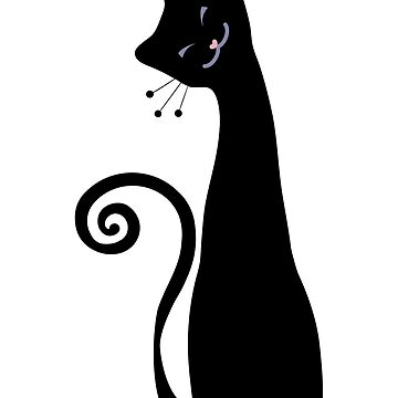 Black Cheerful Cat Vector Art by EveStock