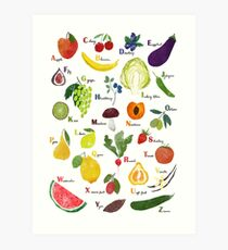 English alphabet with fruit and vegetables Art Print