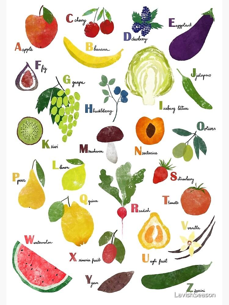 Alfabeto Inglés Con Frutas Y Verduras Póster