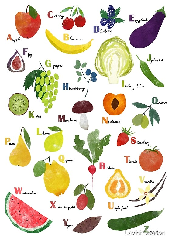 """""""English alphabet with fruit and vegetables"""" Posters by ..."""