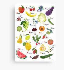 Englisches Alphabet mit Obst und Gemüse Metallbild