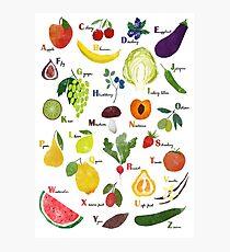 Englisches Alphabet mit Obst und Gemüse Fotodruck