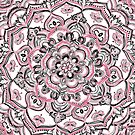 Magical Mandala in Monochrome + Pink by micklyn