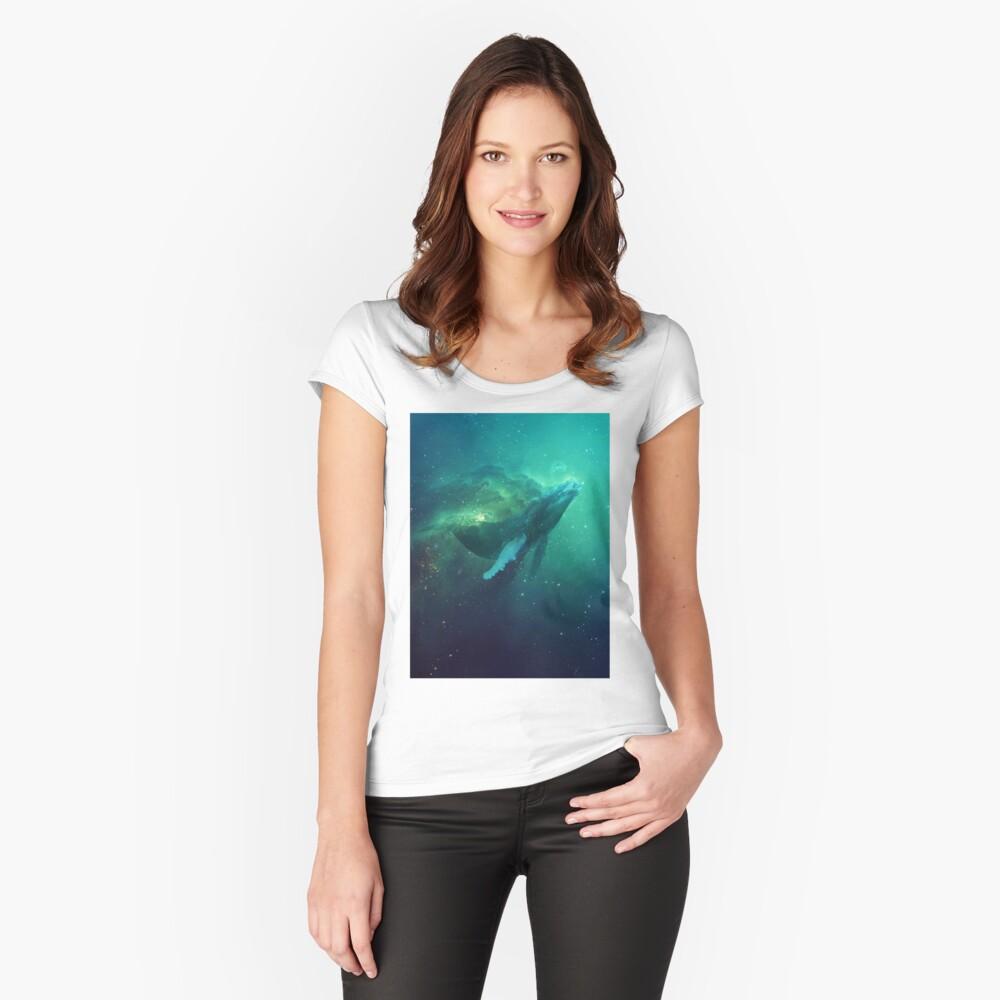 Kosmischer Wal Tailliertes Rundhals-Shirt