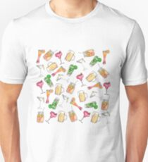 Fun Summer Watercolor Painted Mixed Drinks Pattern T-Shirt