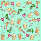 Fun Summer Watercolor Painted Mixed Drinks Pattern by Blkstrawberry