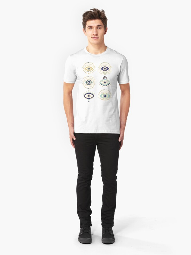 Alternate view of Evil Eye Collection on White Slim Fit T-Shirt