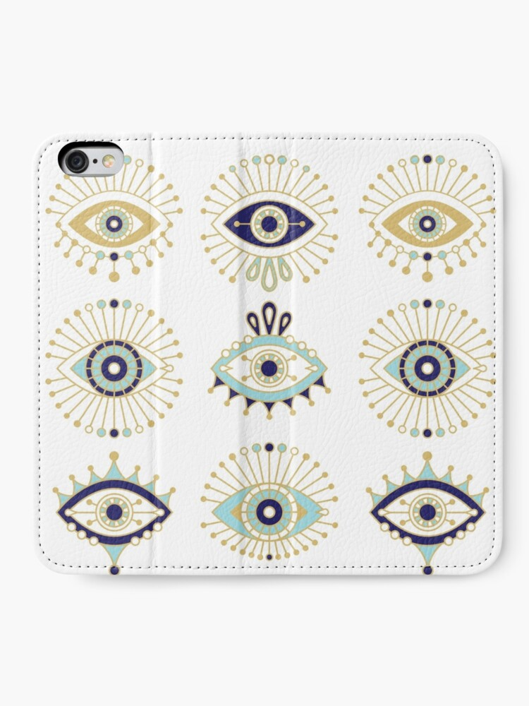 Alternate view of Evil Eye Collection on White iPhone Wallet