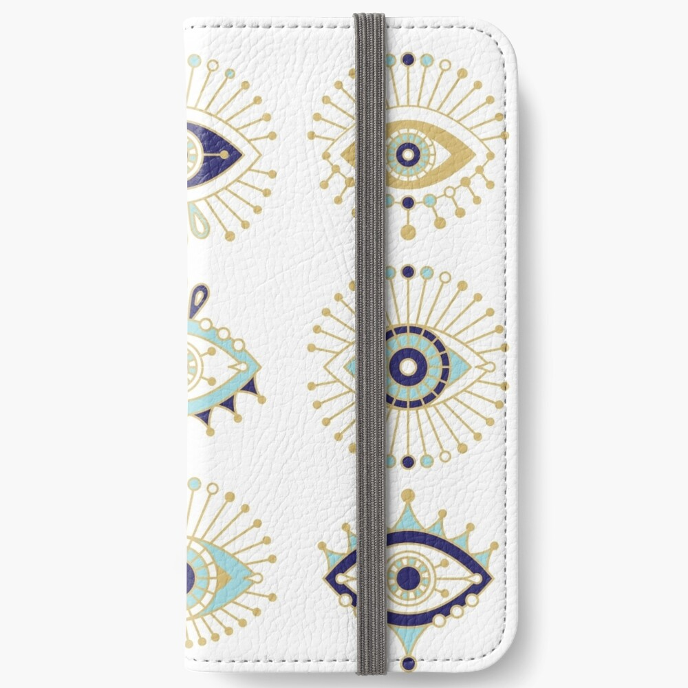 Evil Eye Collection on White iPhone Wallet