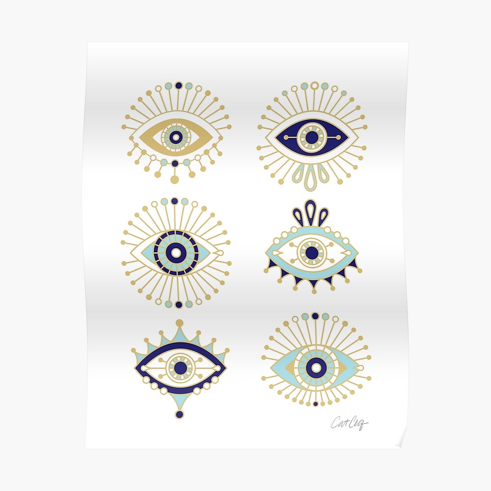 Evil Eye Collection on White Poster