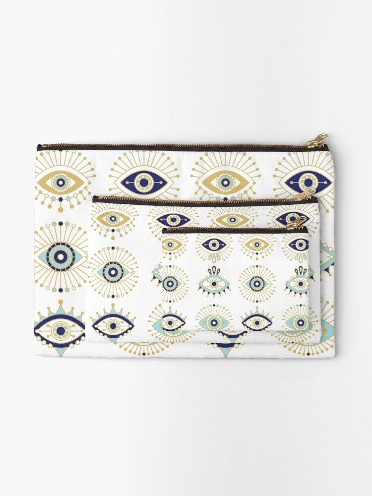 Alternate view of Evil Eye Collection on White Zipper Pouch