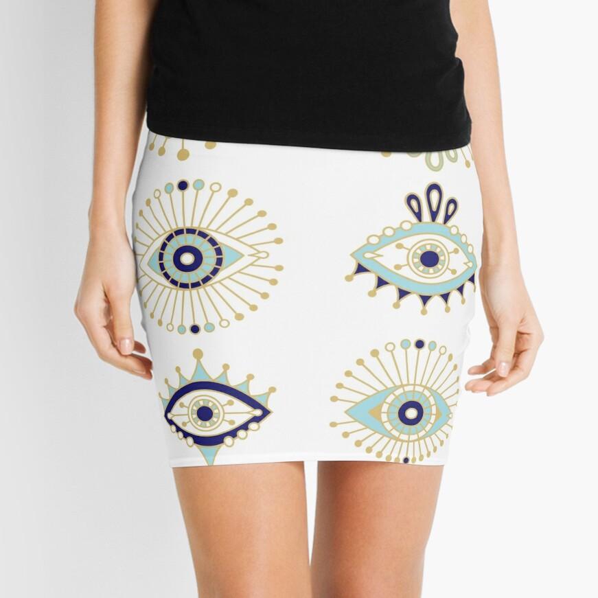 Evil Eye Collection on White Mini Skirt