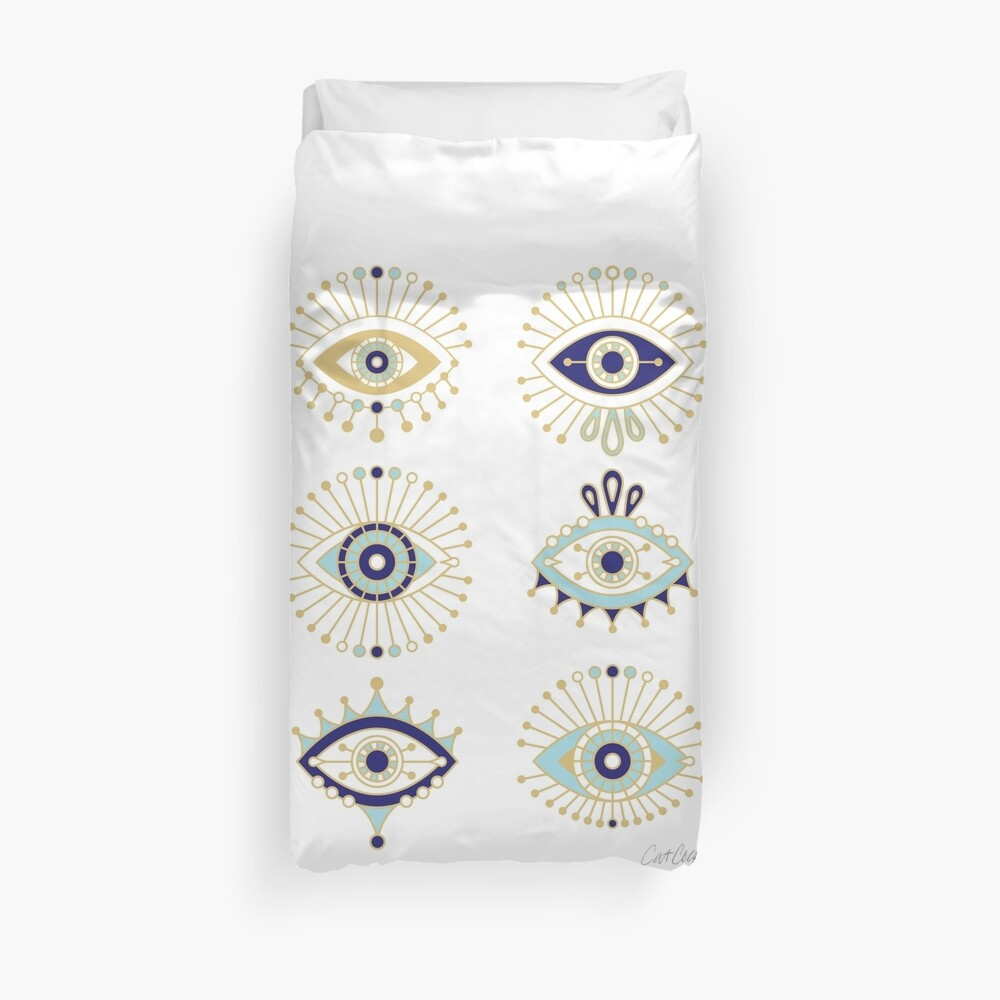 Evil Eye Collection on White Duvet Cover
