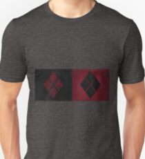 Patchwork Red & Black Leather Effect Motley with Diamond Patches 4 Unisex T-Shirt