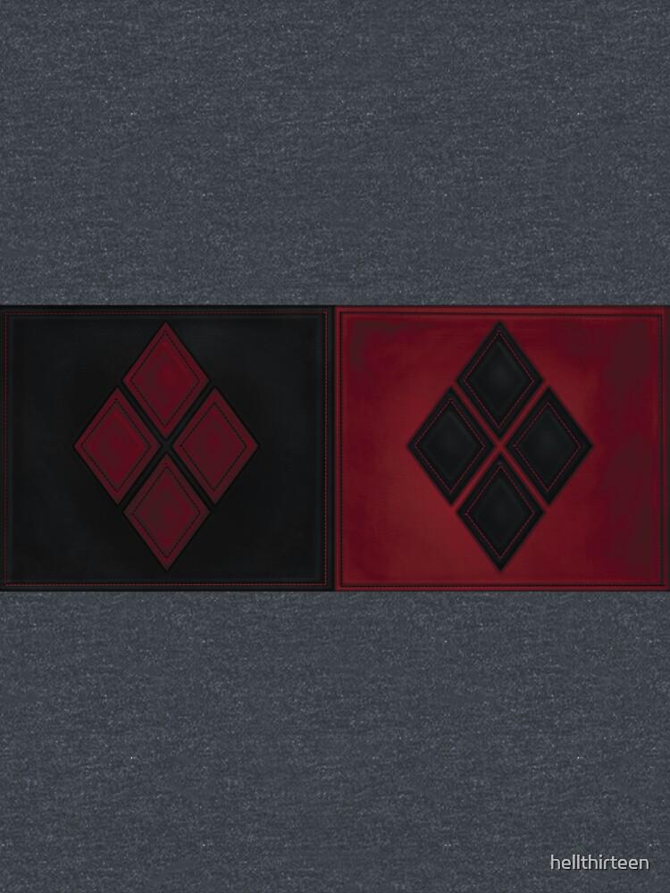 Patchwork Red & Black Leder Effekt Motley mit Diamant Patches 4 von hellthirteen