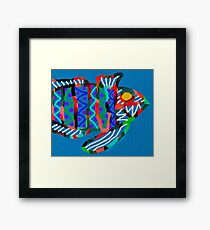 Colorful Abstract Fish Art Drawstring Bag in Yellow and Black  Framed Print