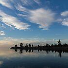 Blue and White Serenity - a Lakefront Stillness by Georgia Mizuleva