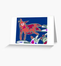 Colorful Abstract Art Throw Pillow in Blue, Pink and Orange Greeting Card