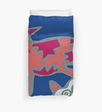 Colorful Abstract Art Throw Pillow in Blue, Pink and Orange Duvet Cover
