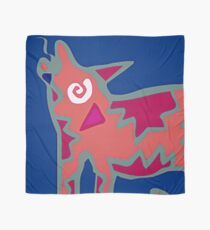 Colorful Abstract Art Throw Pillow in Blue, Pink and Orange Scarf