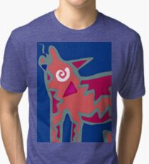 Colorful Abstract Art Throw Pillow in Blue, Pink and Orange Tri-blend T-Shirt