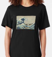 Great Wave T-Shirt - Hokusai Duvet Surfing Kanagawa Mount Fuji Sticker Slim Fit T-Shirt
