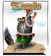 Turtle Dancing the Hula on a Hawaiian Beach Poster