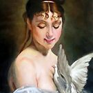 Young Girl with a Dove after Charles Joshua Chaplin by Hidemi Tada
