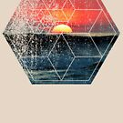 Nature and Geometry - Sunset at Sea Polygonal Design by Denis Marsili