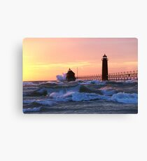 Grand Haven at Sunset Canvas Print