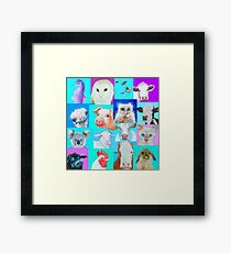 Animal paintings collage for nursery wall Framed Print
