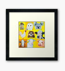 Animal painting collage for nursery wall Framed Print