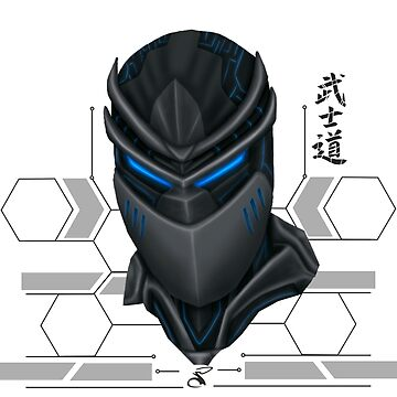 Cyber ​​samurai head gray background by salimgor