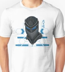 Cyber Samurai head blue Unisex T-Shirt