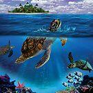 Honu- Hawaiian Green sea turtle by PatinoDesign