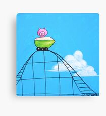 Splatter Roller Coaster Pig Canvas Print