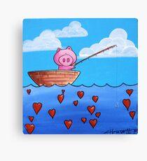 Splatter Pig Fishing for Love Canvas Print