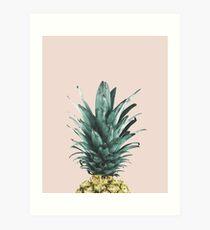 Pineapple on pink, Pineapple top, Minimal Art Print