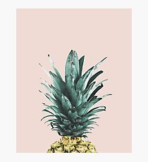 Pineapple on pink, Pineapple top, Minimal Photographic Print