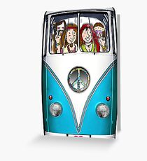 VW Hippie Van, Fully Loaded Design Greeting Card